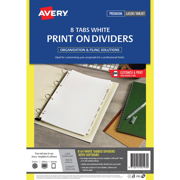 Avery Print On Dividers 8 Tabs a4 White Pack (920193)