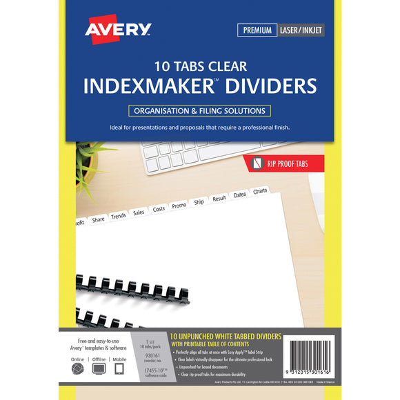 Avery Unpunched IndexMaker™ Dividers with Easy Apply™ Labels 10 Tabs a4 White Pack (930161)