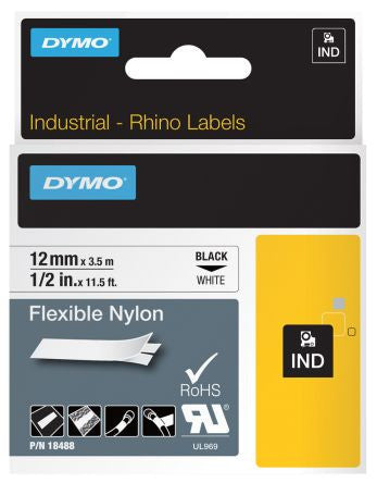 Rhino Industrial Flexible Nylon 12mm White Label Tape (SD18488)