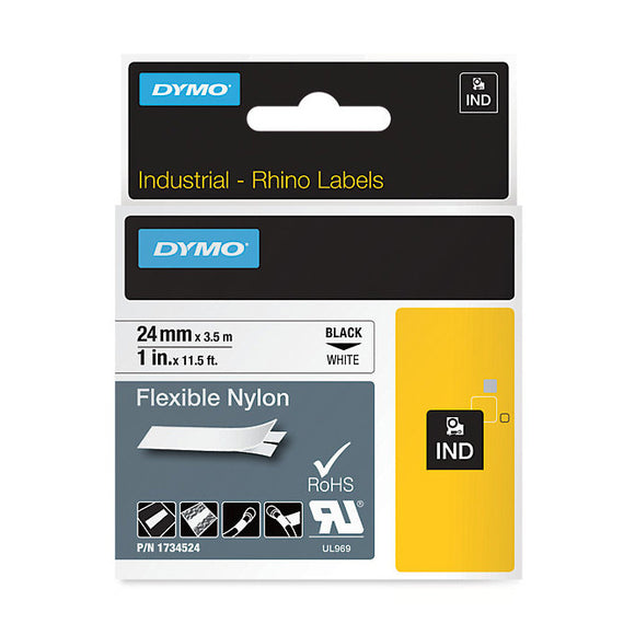 Rhino 24mm Black on White Flexible Nylon Label Tape (SD1734524)