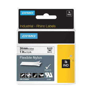 Rhino 24mm Black on White Permanent Polyester Label Tape (SD1734523)