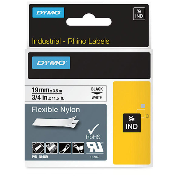 Rhino Industrial Flexible Nylon 19mm White Label Tape (SD18489)
