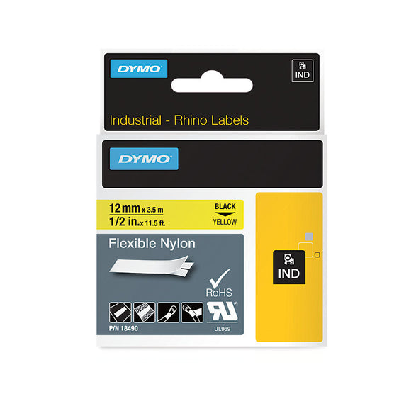 Rhino Industrial Flexible Nylon 12mm Yellow Label Tape (SD18490)