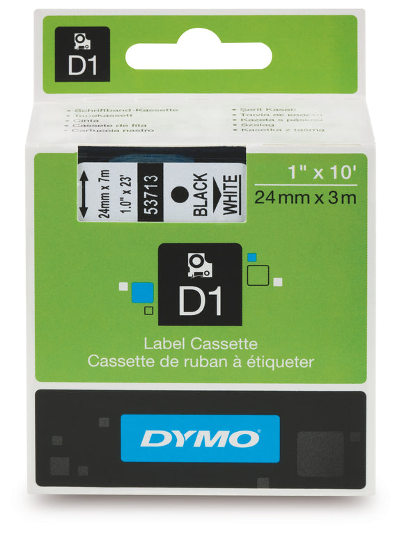 Dymo D1 24mm x 7m Black on White Label Tape (SD53713 / S0720930)