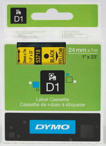 Dymo D1 24mm x 7m Black on Yellow Label Tape (SD53718)