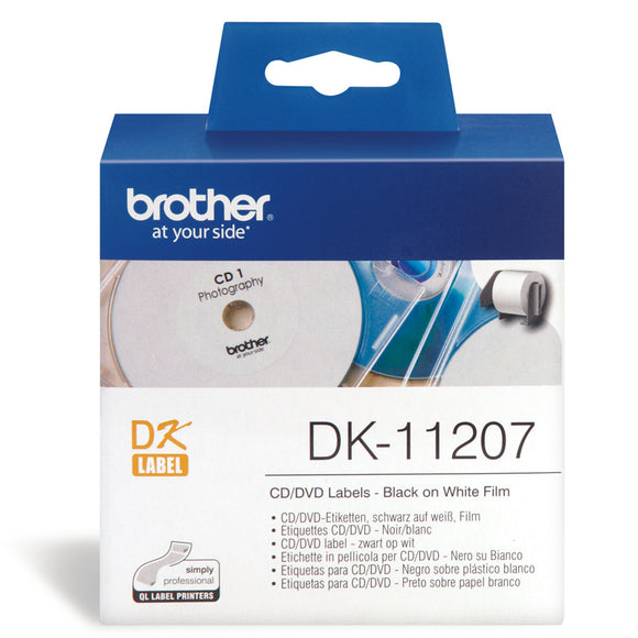 Brother White Cd/Dvd Film Labels 58 Diameter, 100 Labels Per Roll (DK-11207)