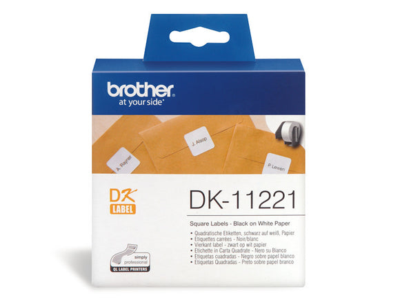 Brother White 23mm X 23mm Die-Cut Square Paper Label 1000 Labels Per Roll (DK-11221)