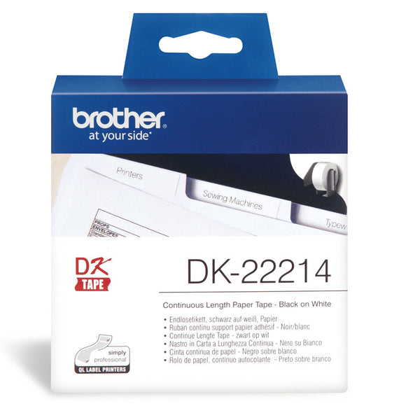 Brother White Continuous Paper Roll 12mm X 30.48m (DK-22214)