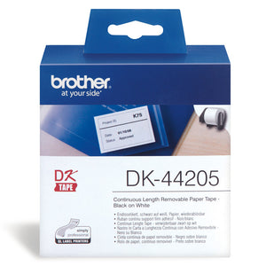 Brother Removable White Continuous Paper Roll 62mm X 30.48m (DK-44205)
