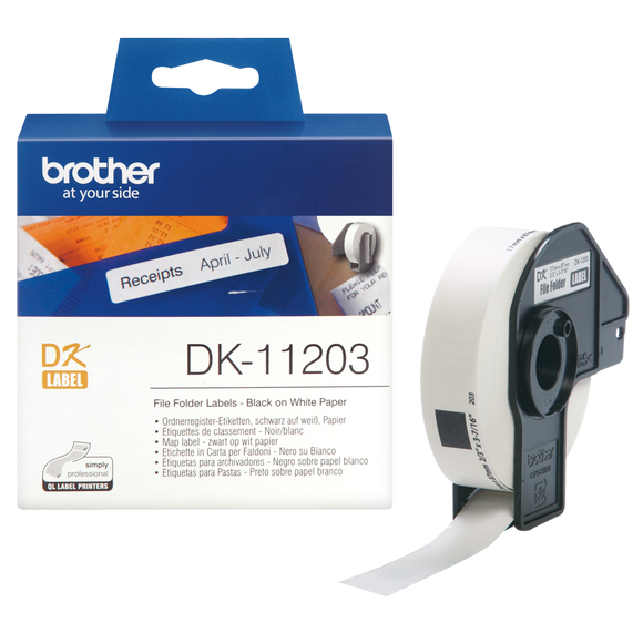 Brother DK Roll 17mm x 87mm, Black on White, 300 Labels (DK-11203)