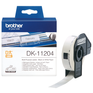 Brother DK Roll 17mm x 54mm, Black on White, 400 Labels (DK-11204)