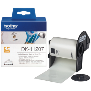 Brother DK CD/DVD Roll 58mm Diameter, Black on White, 100 Labels (DK-11207)