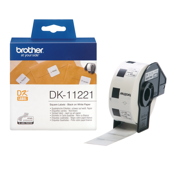 Brother DK Roll 23mm x 23mm, Black on White, 1000 Labels (DK-11221)