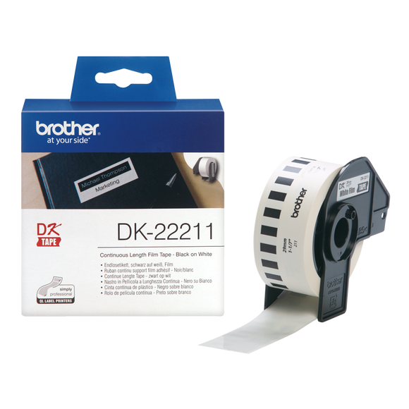 Brother DK Continuous Roll 29mm Width, Black on White, 15.24m Long (DK-22211)