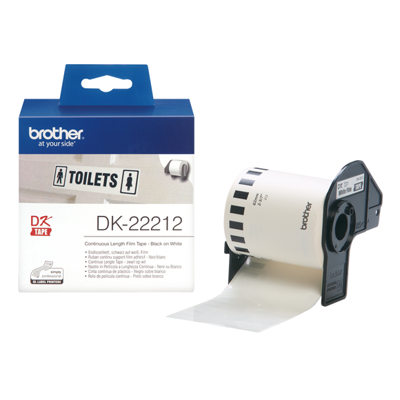 Brother DK Continuous Roll 62mm Width, Black on White, 15.24m Long (DK-22212)
