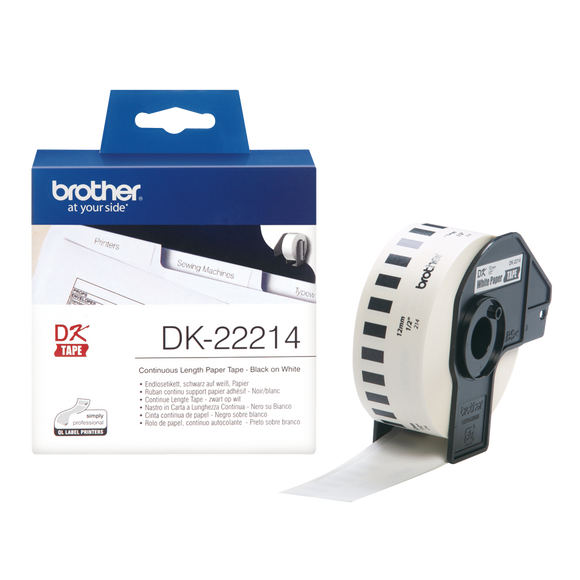 Brother DK Continuous Roll 12mm Width, Black on White, 30.48m Long (DK-22214)