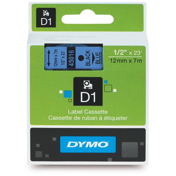 Dymo D1 12mm x 7m Black on Blue Label Tape (SD45016) EA