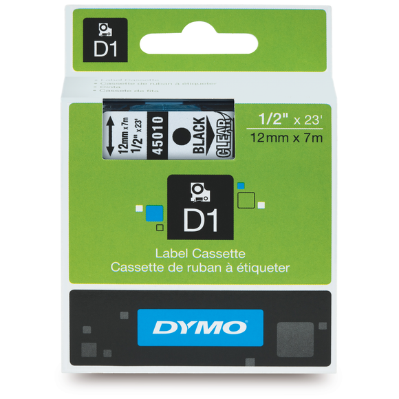 Dymo D1 12mm x 7m Black on Clear Label Tape (SD45010) EA