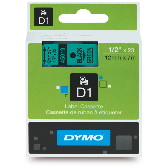 Dymo D1 12mm x 7m Black on Green Label Tape (SD45019) EA