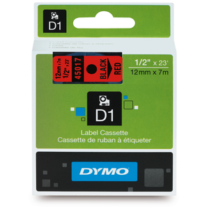 Dymo D1 12mm x 7m Black on Red Label Tape (SD45017) EA