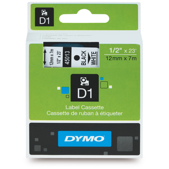 Dymo D1 12mm x 7m Black on White Label Tape (SD45013 / S0720530)