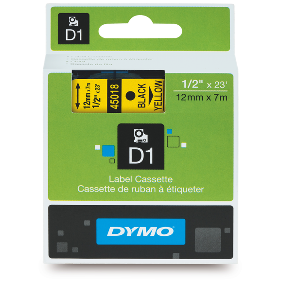 Dymo D1 12mm x 7m Black on Yellow Label Tape (SD45018) EA