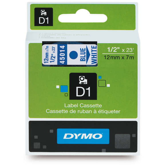 Dymo D1 12mm x 7m Blue on White Label Tape (SD45014) EA