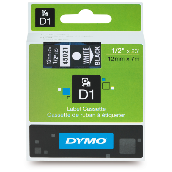 Dymo D1 12mm x 7m White on Black Label Tape (SD45021) EA