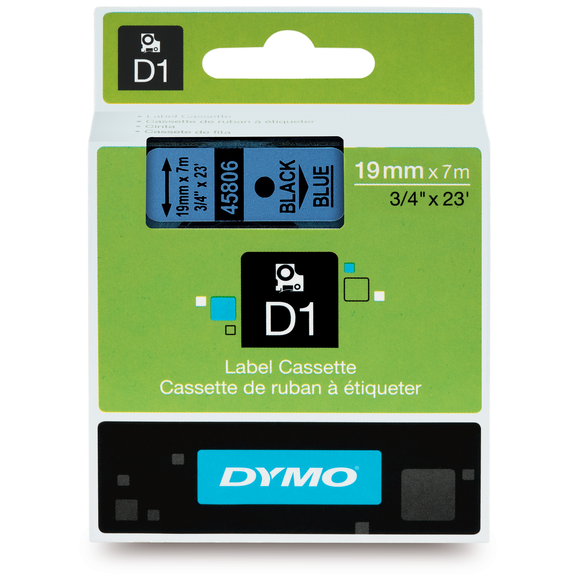 Dymo D1 19mm x 7m Black on Blue Label Tape (SD45806) EA