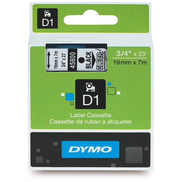 Dymo D1 19mm x 7m Black on Clear Label Tape (SD45800) EA