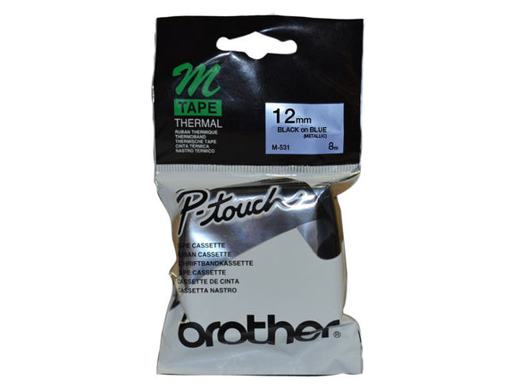 Brother 12mm Metallic Black On Blue Label Tape (M-531)