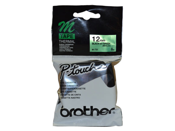 Brother 12mm Metallic Black On Green Label Tape (M-731)