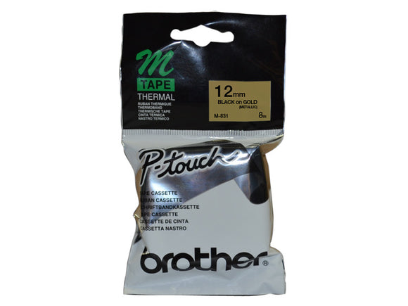 Brother 12mm Metallic Black On Gold Label Tape (M-831)