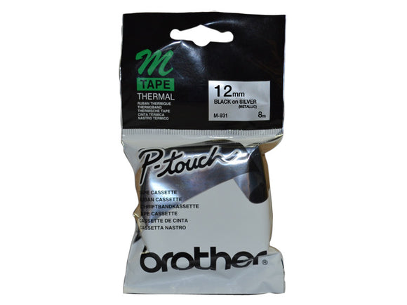 Brother 12mm Metallic Black On Silver Label Tape (M-931)