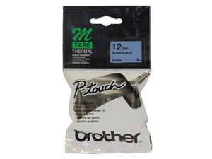 Brother 12mm Black On Blue Label Tape (M-K531)