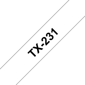Brother TX Labelling Tape, 12mm Width, Black on White, 15m Long (TX-231)