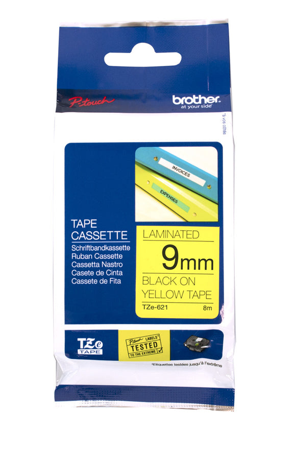 Brother 9mm Black On Yellow Label Tape (TZE-621)