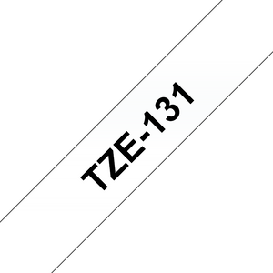 Brother TZE Labelling Tape, 12mm Width, Black on Clear, 8m Long (TZE-131)