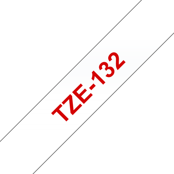Brother TZE Labelling Tape, 12mm Width, Red on Clear, 8m Long (TZE-132)
