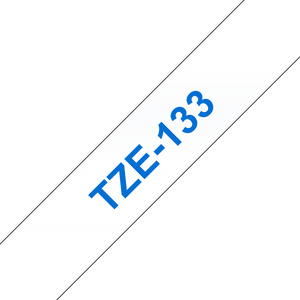 Brother TZE Labelling Tape, 12mm Width, Blue on Clear, 8m Long (TZE-133)