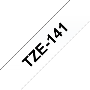 Brother TZE Labelling Tape, 18mm Width, Black on clear, 8m Long (TZE-141)