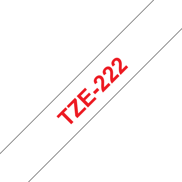 Brother TZE Labelling Tape, 9mm Width, Red on White, 8m Long (TZE-222)