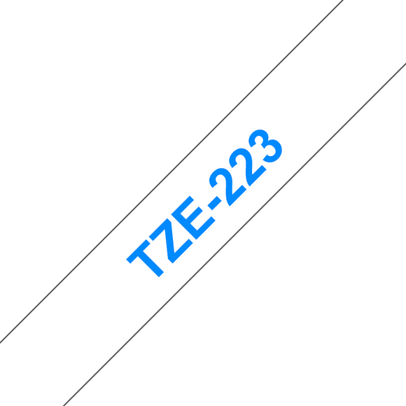 Brother TZE Labelling Tape, 9mm Width, Blue on White, 8m Long (TZE-223)