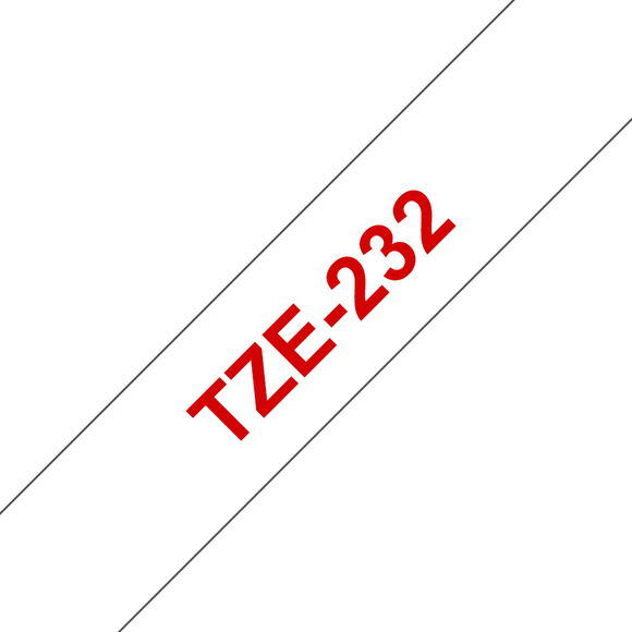 Brother TZE Labelling Tape, 12mm Width, Red on White, 8m Long (TZE-232)