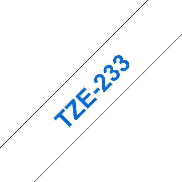 Brother TZE Labelling Tape, 12mm Width, Blue on White, 8m Long (TZE-233)
