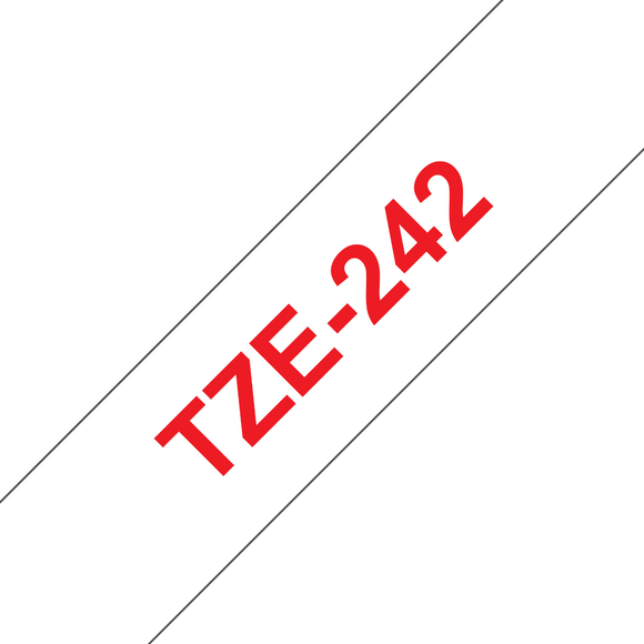 Brother TZE Labelling Tape, 18mm Width, Red on White, 8m Long (TZE-242)