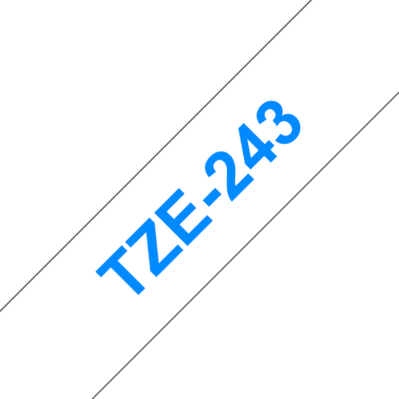 Brother TZE Labelling Tape, 18mm Width, Blue on White, 8m Long (TZE-243)