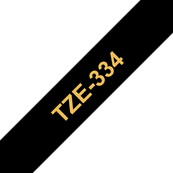 Brother TZE Labelling Tape, 12mm Width, Gold on Black, 8m Long (TZE-334)