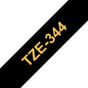Brother TZE Labelling Tape, 18mm Width, Gold on Black, 8m Long (TZE-344)