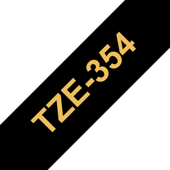 Brother TZE Labelling Tape, 24mm Width, Gold on Black, 8m Long (TZE-354)